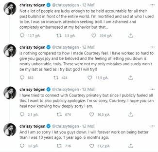 Η Κρίσι Τέιγκεν ζητά συγγνώμη για το online bullying: «Ήμουν τρολ, τελεία. Και λυπάμαι»