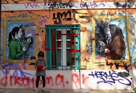 Ένα απο τα μοναδικά έργα του Bleeps σε τοίχο της Αθήνας