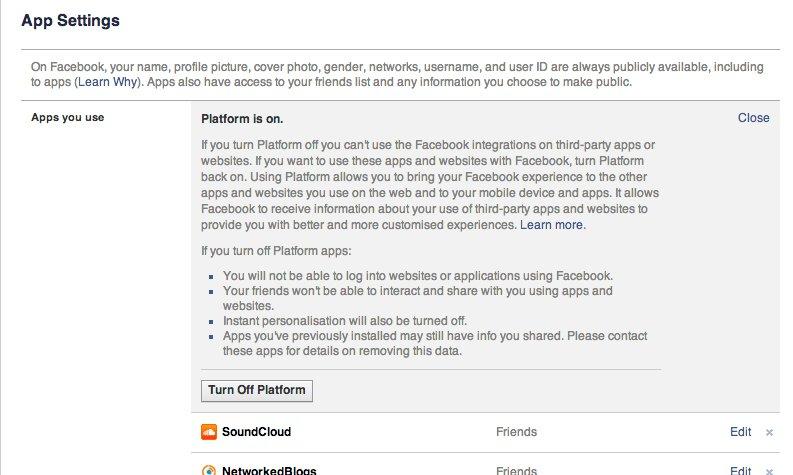 Πάτα το off στον παραπάνω πίνακα για να βγάλεις την πρίζα μεταξύ applications και facebook