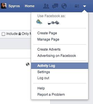 """Κάνε κλικ στο 'Activity Log' ή """"ιστορικό ενεργειών' για να δεις τι έκανες στο Facebook"""
