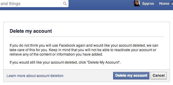"""Πατώντας το """"Delete my account"""" είσαι 1 βήμα και 1 μήνα μακριά από την ανυπαρξία στο Facebook"""