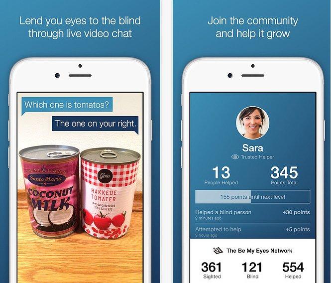 Αυτό είναι το πολύ απλό interface του Be My Eyes, που επιβραβεύει τους χρήστες με πόντους κάθε φορά που προσφέρουν βοήθεια σε ένα τυφλό άτομο